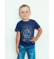 Детская футболка с кораблем цвета индиго