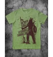 Зеленая детская футболка с индейцем