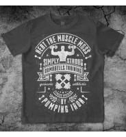 """Темно-серая футболка """"Пауэрлифтинг с гантелями"""""""