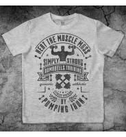 """Серая футболка """"Пауэрлифтинг гантели"""""""