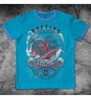 """Бирюзовая футболка с дизайном """"Рафтинг"""""""