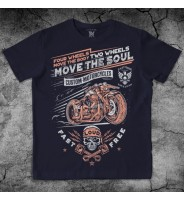 Темно-синяя футболка с мотоциклом