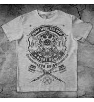 """Серая футболка """"Пауэрлифтинг штанга"""""""