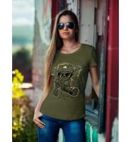 """Женская футболка """"Кот с пулеметом"""""""